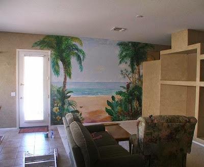 Lukis dinding pemandangan laut