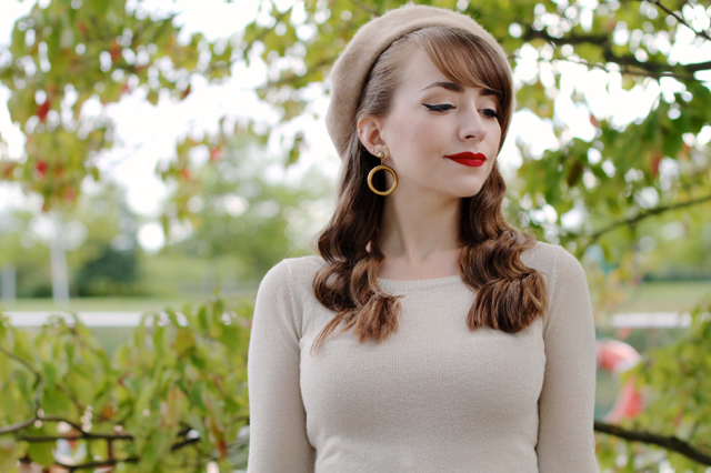 Collectif bardot top, Bow and Crossbones hoop earrings and beret