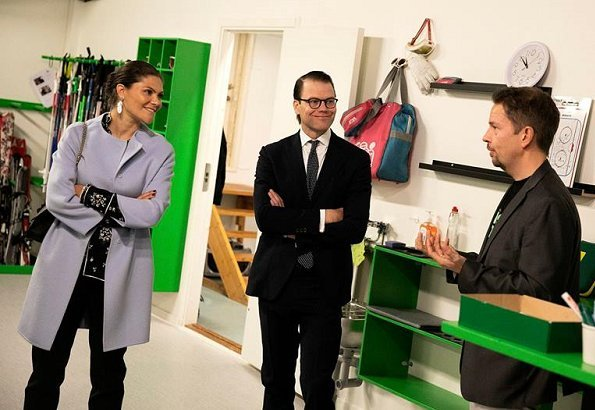 Crown Princess Victoria wore Erdem x H&M Blouse, By Malene Birger coat and carried Valentino small shoulder bag