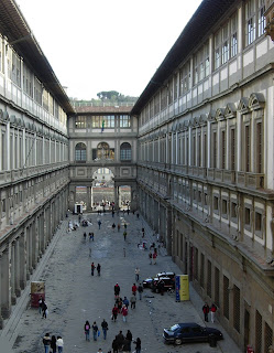 The courtyard between the two wings of the Uffizi Gallery in Florence