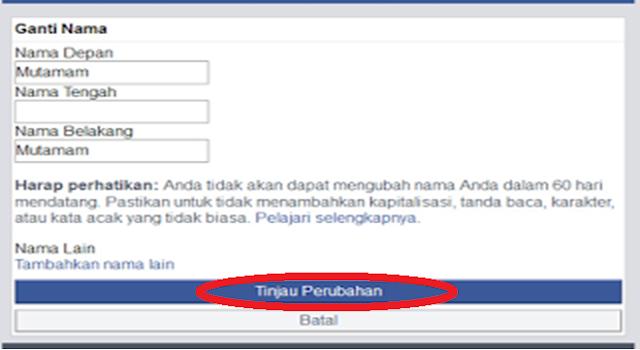 kolom ganti nama facebook