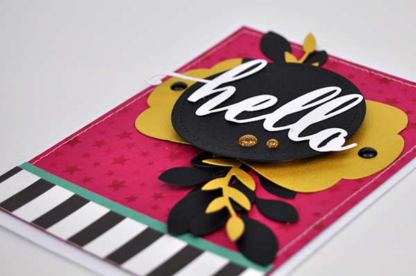 """Hello"" Stenciled Background Card using a stencil to create a card base by Jen Gallacher for www.jengallacher.com. #jengallacher #card #stencil #diecutting"