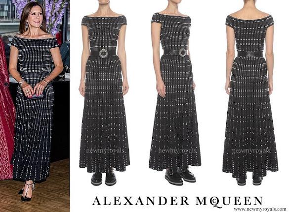 Crown Princess Mary wore Alexander McQueen Long Off Shoulder Knit Dress