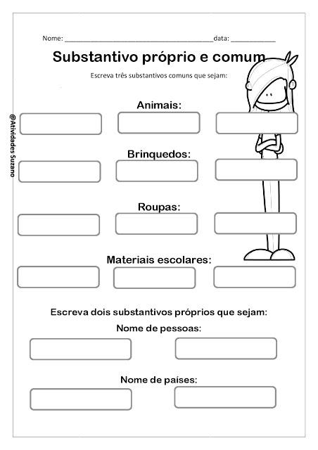Atividades para Imprimir - SUBSTANTIVO PRÓPRIO E COMUM