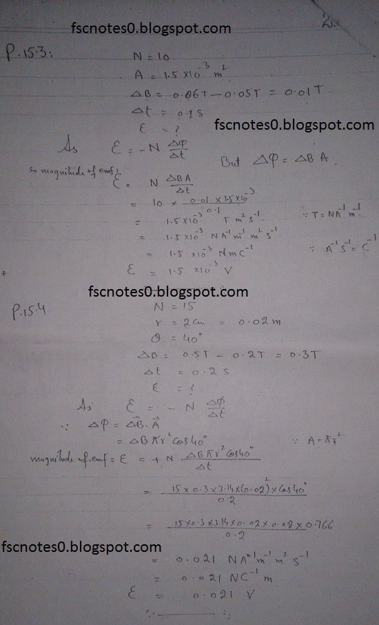 F.Sc ICS Notes: Physics XII: Chapter 15 Electromagnetic Induction Numerical Problems Asad Hussain 1
