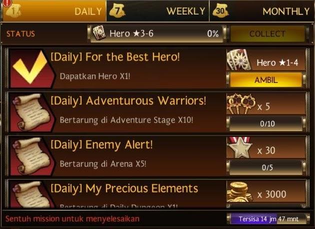 Selesaikan Special Quest termasuk Daily, Weekly dan Monthly