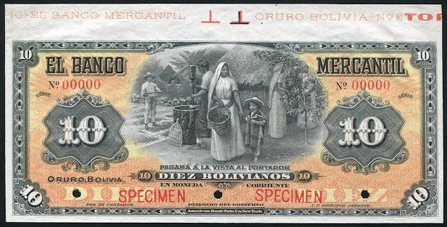 Bolivia 10 Bolivianos note
