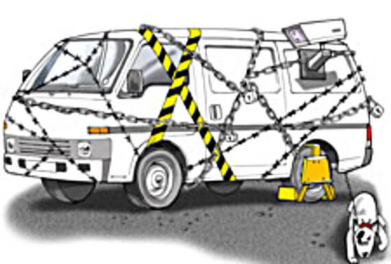 funny illustration with van surrounded in chains, police tape, with a mounted video camera and a mean guard dog