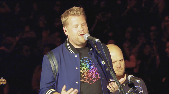 "James Corden Gets The Best Birthday Present Ever- Sings ""Nothing Compares 2U"" With Coldplay at the Rose Bowl"