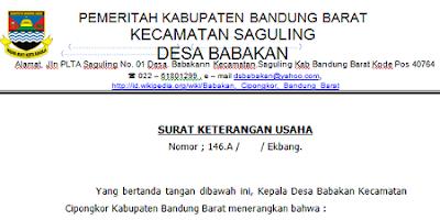 Contoh Surat Keterangan Usaha Untuk Pinjaman Kur Bank
