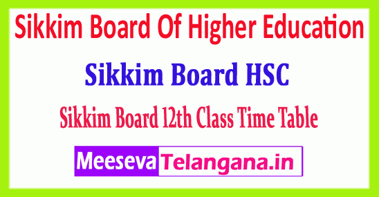 Sikkim HSC 12th Time Table Sikkim Board Of Higher Education 12th Time Table