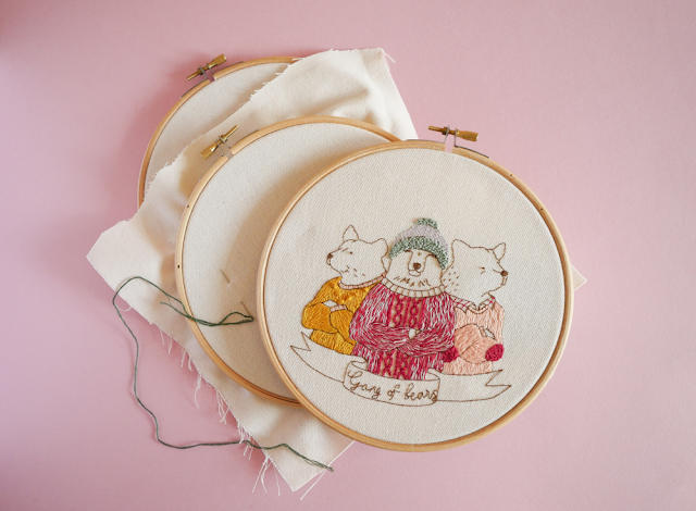 Gang of bears, modèle de broderie - #MarionRomainPatterns
