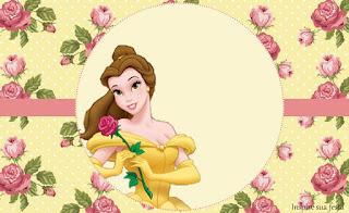 Para hacer invitaciones, tarjetas, marcos de fotos o etiquetas, para imprimir gratis de La Bella y la Bestia con Rosas.