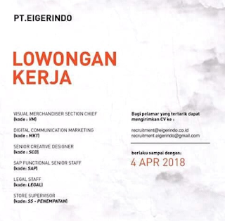 Karir Lowongan Kerja PT Eigerindo Eiger Bandung Terbaru 2019