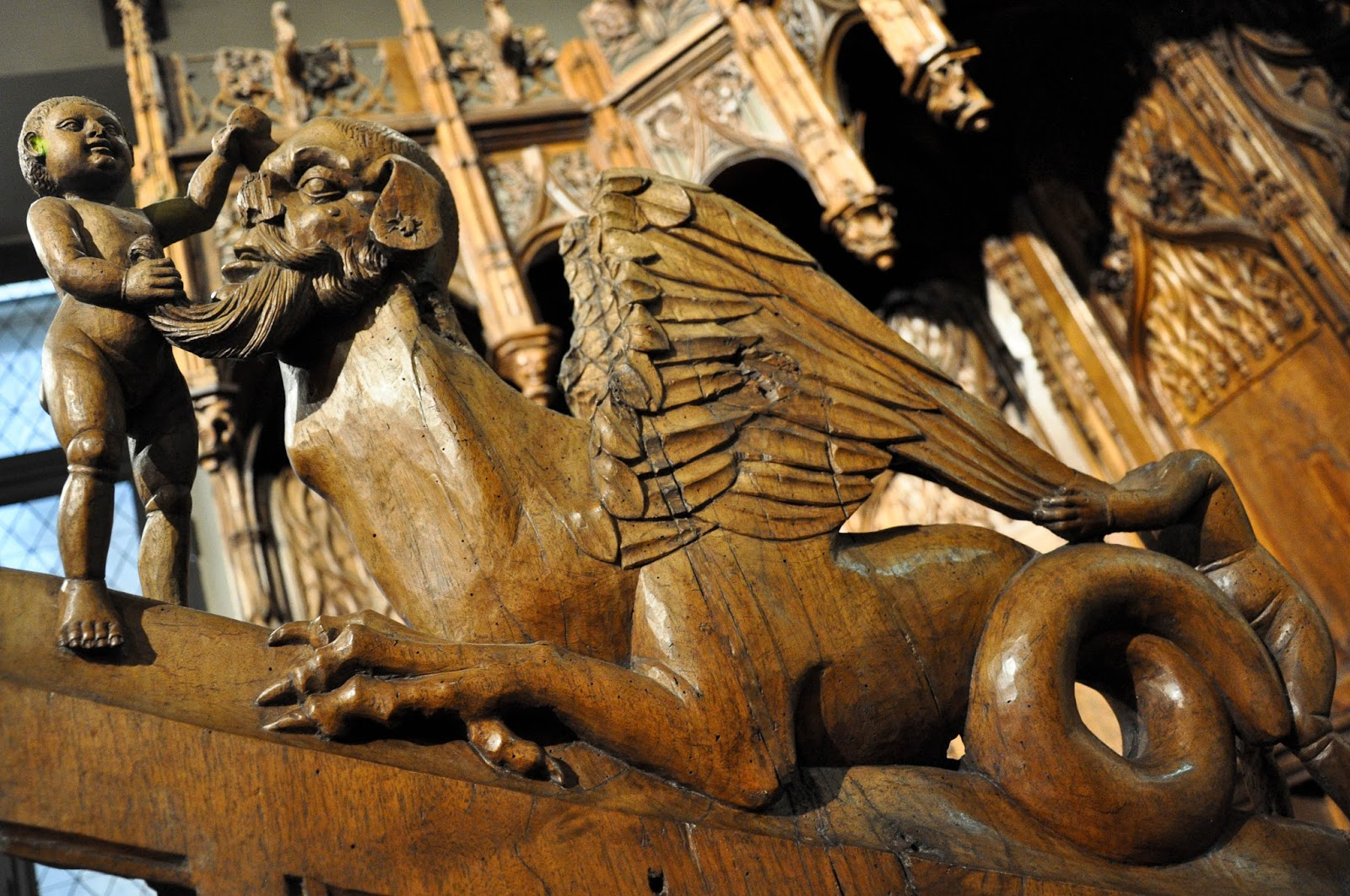 A detail of a wooden altar, Antique Art Museum, Palazzo Madama, Turin, Italy