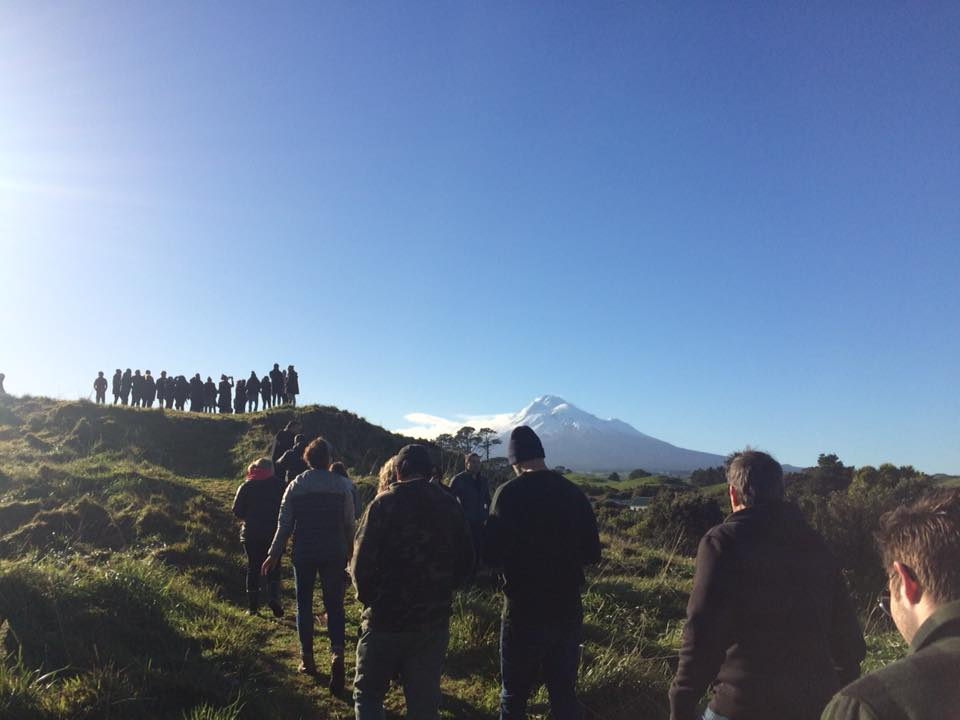 Walking up the hill where the cannons once were, overlooking Parihaka
