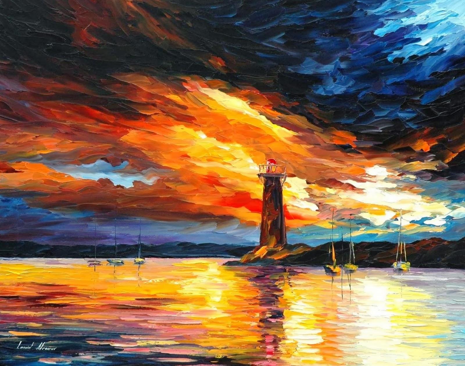 paisaje marino pintado al leo pinturas decorativas y coloridas leonid afremov