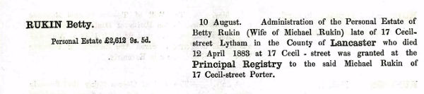 The Will notice of Betty Rukin, Heywood, Lancashire