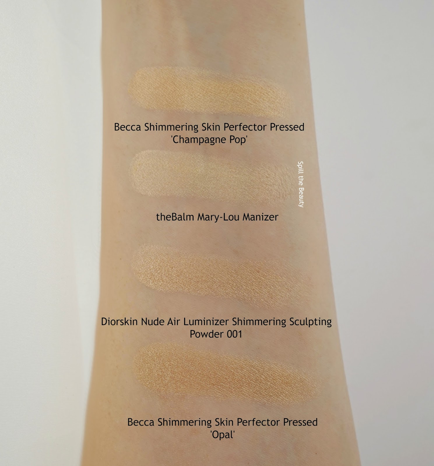 diorskin nude air luminizer shimmering sculpting powder 001 review swatches arm swatches comparison dupe becca thebalm