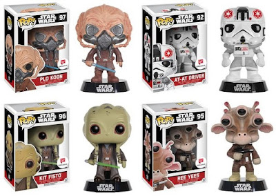 Walgreens Exclusive Star Wars Pop! Series 2 Vinyl Figures by Funko - Plo Koon, Kit Fisto, Ree Yees & AT-AT Driver