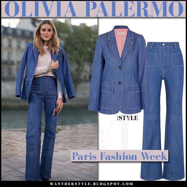 Olivia Palermo in denim jacket paul and joe obrother, denim flared jeans paul and joe rania and pale pink sweater what she wore paris fashion week