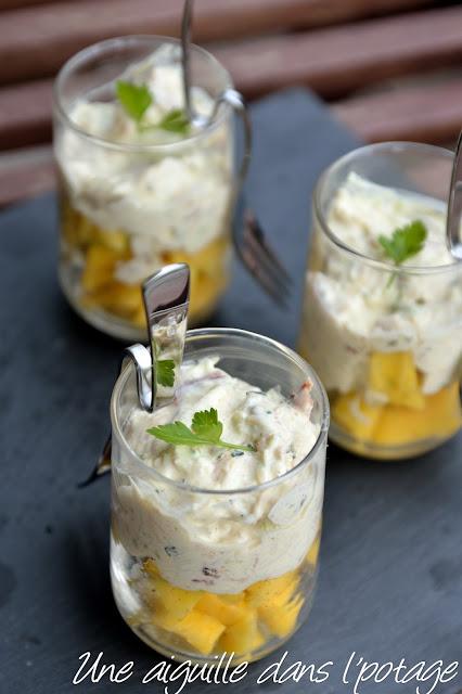 verrine délice de crabe à la mangue vanille citron vert