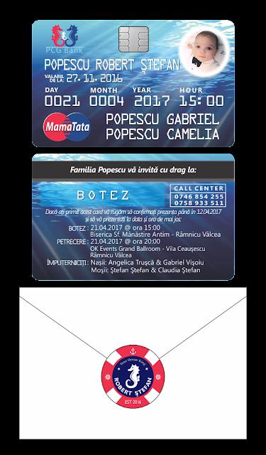 Invitatie Botez Card bancar personalizat tema marina
