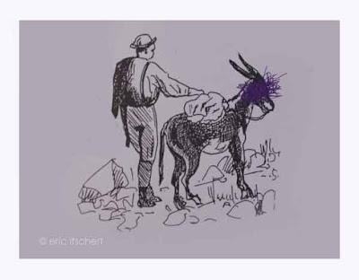 bic, âne, gribouillis, art contemporain, portefaix,