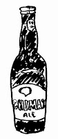 An ink sketch of a bottle of Chimay by David Borden, (c) 2015