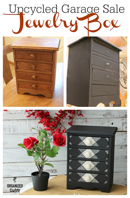 A Garage Sale Wooden Jewelry Chest Upcycle #stencil #garagesalefind #upcycle #oldsignstencils #dixiebellepaint #jewelrychest #jewelrybox