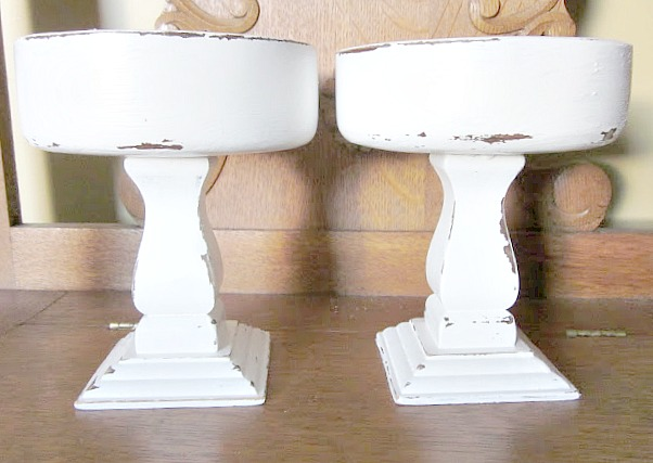 2 wooden distressed pedestal bowls