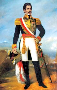 Dibujo de Ramón Castilla parado y con banda peruana