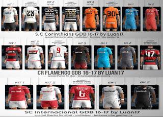 Kits: Corinthians, Flamengo, Internacional 2016-2017 Pes 2013
