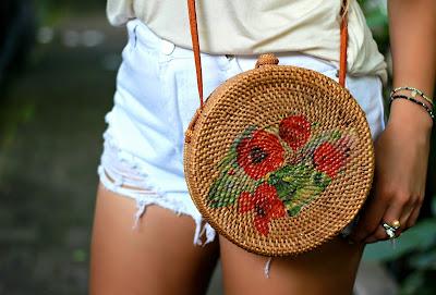 Floral Rattan Bali Bag, Bali bag