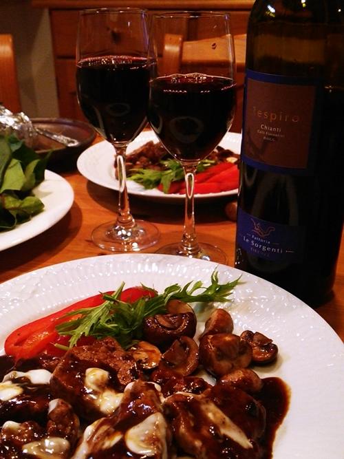 キアンティ・コッリ・フィオレンティーニと豚ヒレ肉の猟師風の赤ワイン煮込み