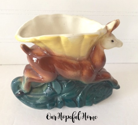 vintage deer planter retro pottery