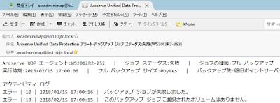UDPから送信されたメールの例