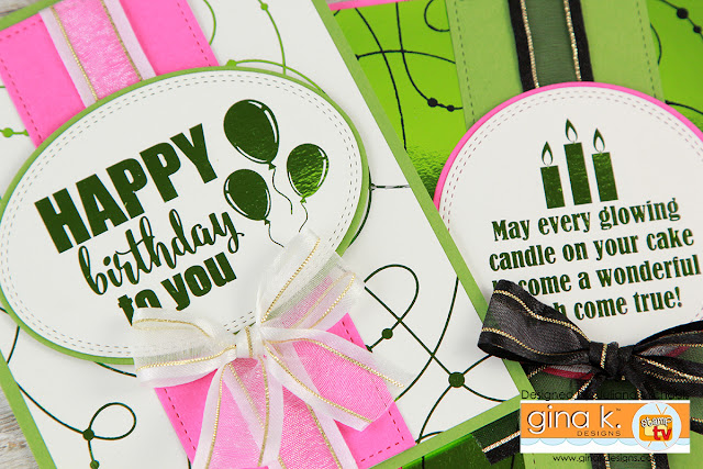 Happy Birthday Cards using Gina K Designs Fancy Foil Scraps and Foil Mates by Juliana Michaels