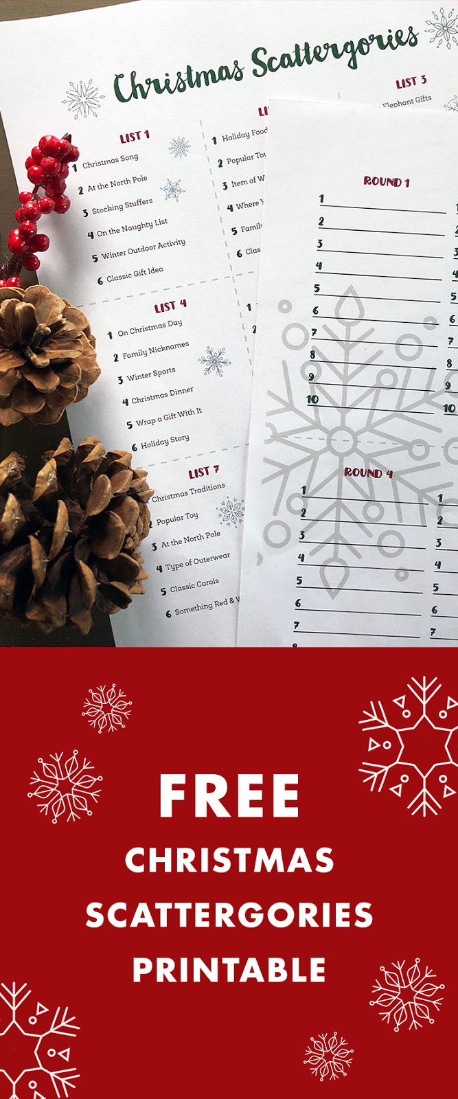 Meredith Plays: Christmas Scattergories Printable