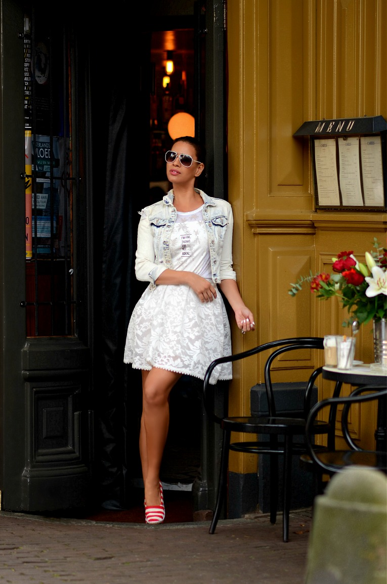 White lace full skirt, Zara denim jacket, Tamara Chloé. TC Style Clues, White Aviator sunglasses, Maganda shoes, Amsterdam, The Pijp