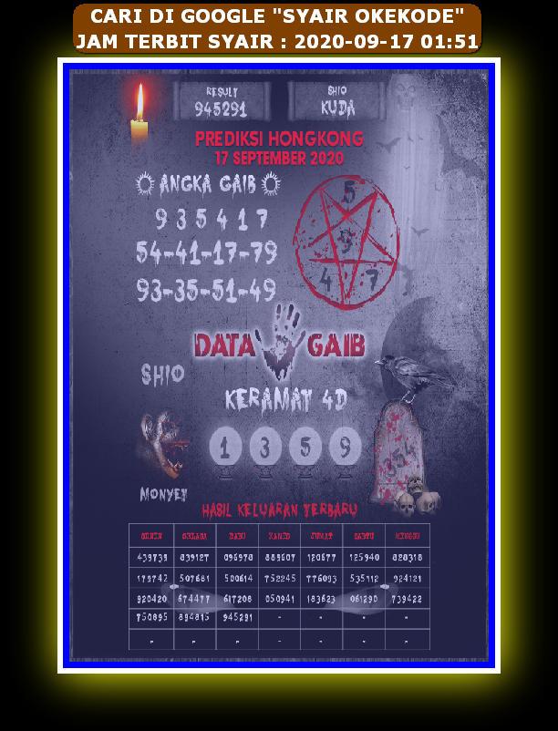 Kode syair Hongkong Kamis 17 September 2020 167
