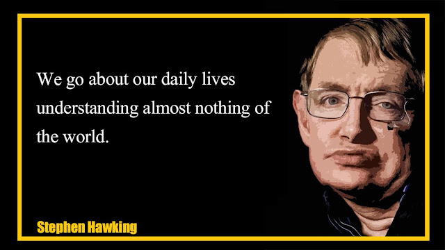 We go about our daily lives understanding almost nothing of the world Stephen Hawking