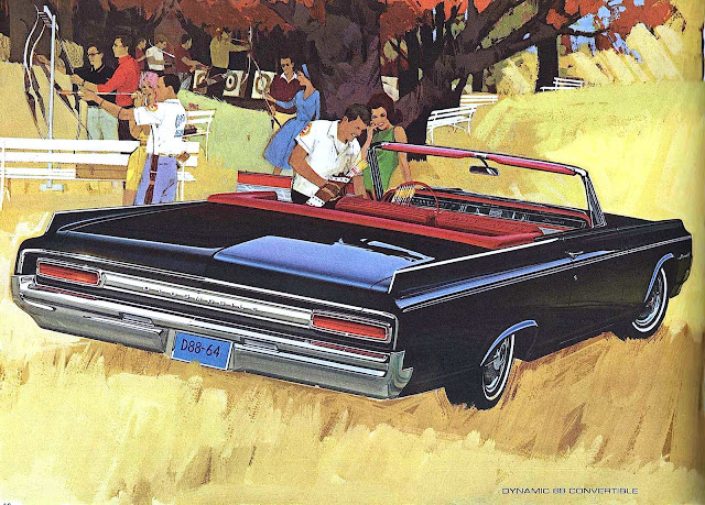 a 1964 black Oldsmobile advertising illustration
