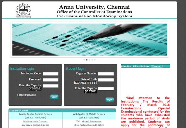 Anna university Coe result
