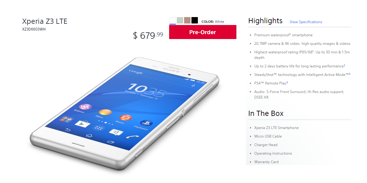 You can now order the unlocked Sony Xperia Z3 through Sony Store in