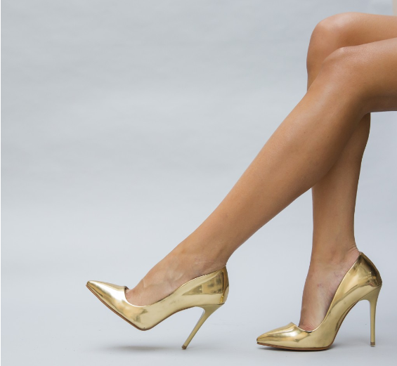 Pantofi cu toc inalt Aurii de ocazii piele lacuita reducere