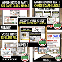 Ancient World History Mega Bundle, Ancient World History Curriculum, World History Digital Interactive Notebooks, World History Choice Boards, World History Test Prep, World History Guided Notes, World History Word Wall Pennants, World History Game Cards, World History Timelines, Early Man, Ancient Greece, Ancient Rome, Ancient China, Asian Empires, African Kingdoms, Aztec, Inca, Maya, Middle Ages, Renaissance, Reformation, Explorers