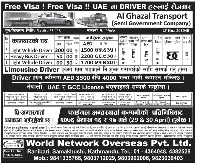 Jobs in UAE for Nepali, Salary Rs 66,930