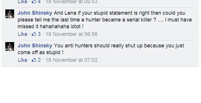 We Will Not Be Silenced About Hunters: November 2014