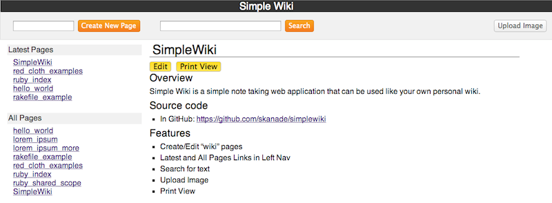 SimpleWiki - simple note taking system   Ruby Programming